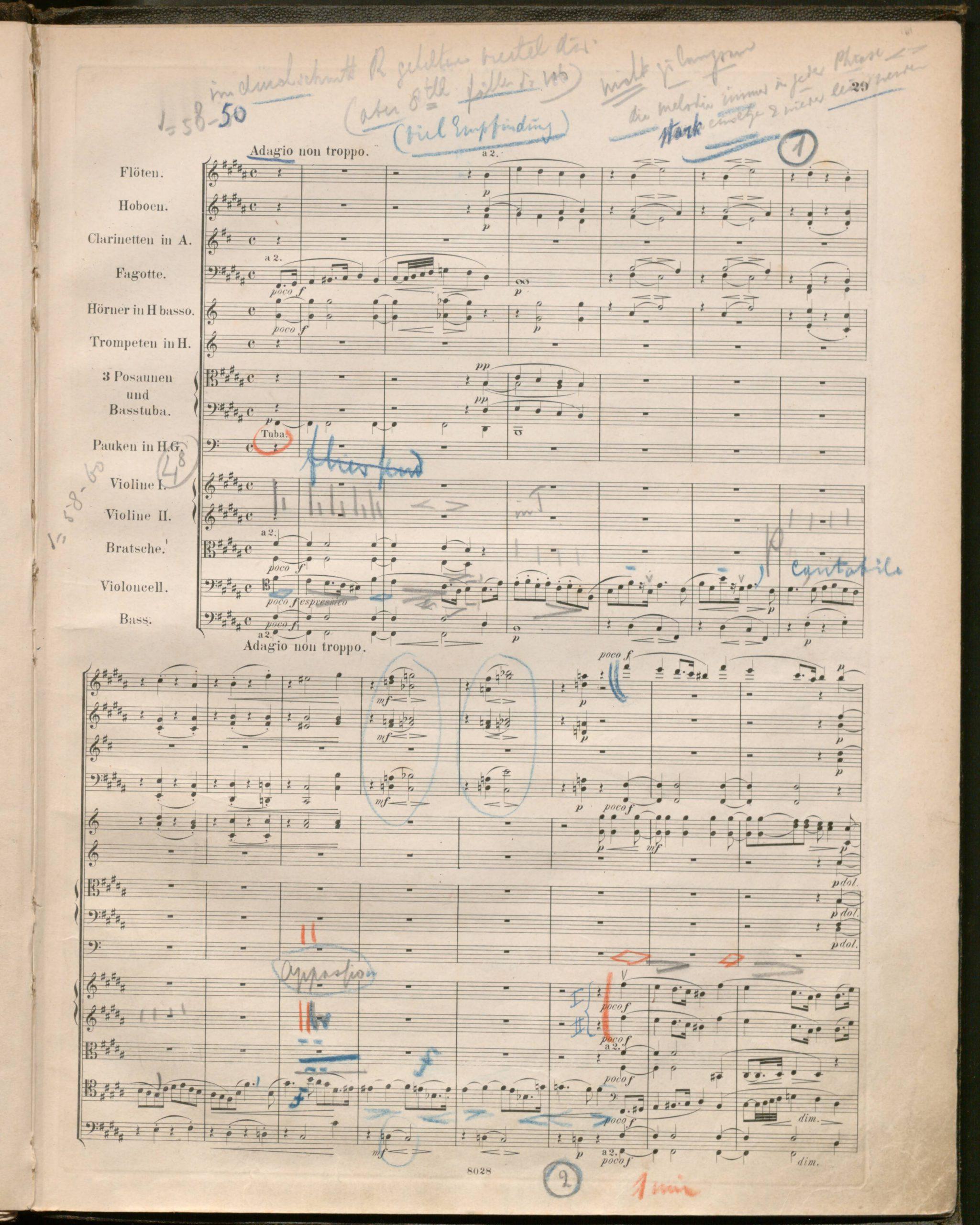 Mengelberg's score page 1 of Adagio 2.2